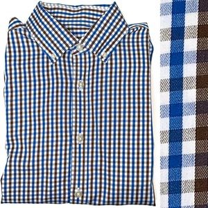 Michael Kors Blue & Brown Check Dress Shirt 15.5